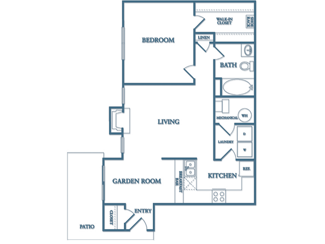 Dunwoody Village A3 Birch Floor Plan 1 Bedroom 1 Bath Fully Furnished