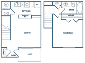 Dunwoody Village A1-Azalea Townhome Floor Plan 1 Bedroom 1 Bathroom