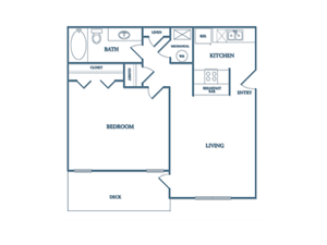Dunwood Village A2 Dogwood Floor Plan 1 Bedroom 1 Bath
