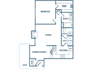 Dunwoody Village A3 Birch Floor Plan 1 Bedroom 1 Bath