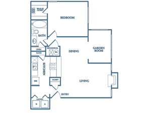 Dunwoody Village A4 - Evergreen Floor Plan 1 Bedroom 1 Bath