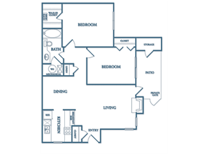 Dunwoody Village B1 Fresia Floor Plan 1 Bedroom 1 Bath