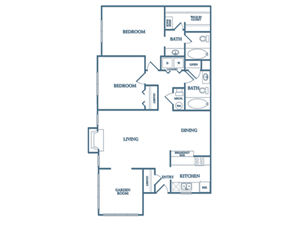 Dunwoody Village B3 Hibiscus Floor Plan 2 Bedroom 2 Bath