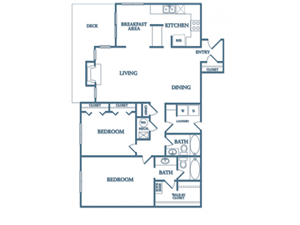 Dunwoody Village B4 Iris Floor Plan 2 bedroom 2 bath
