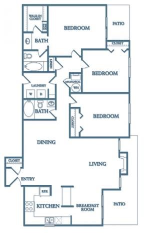Dunwoody Village C1 - Kalilily Layout 3 Bedroom 2 Bathroom