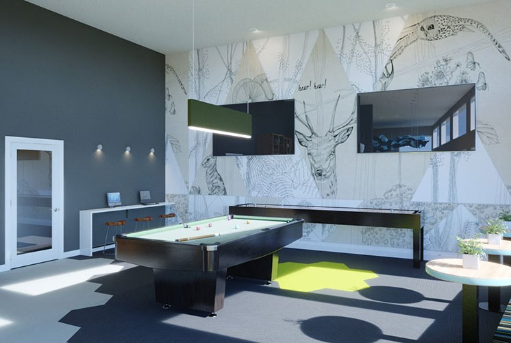 Play a game of billiards with your neighbors in the game room at Baseline 158, OR, 97006