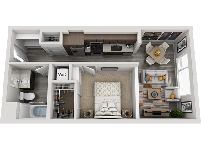 The A1 floor plan at Baseline 158 offers one bedroom, one bathroom, and 592 square feet of room for residents in Beaverton, 97006