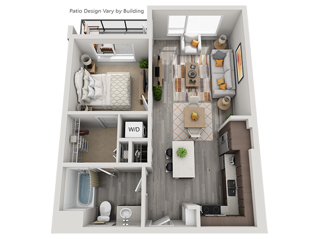 The A2 1 Bedroom 1 Bathroom floor plan at Baseline 158 offers one bedroom, one bathroom, and 674 square feet of room for residents in Oregon, 97006