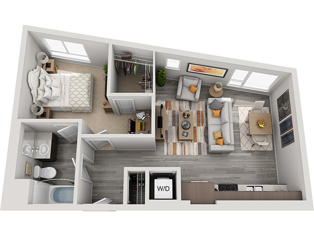 The A3 1 Bedroom 1 Bathroom floor plan at Baseline 158 offers one bedroom, one bathroom, and 677 square feet of room for residents in Beaverton, OR