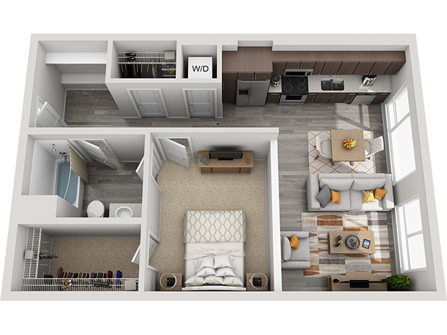 The A4 1 Bedroom 1 Bathroom floor plan at Baseline 158 offers one bedroom, one bathroom, and 712 square feet of room for residents in Oregon, 97006