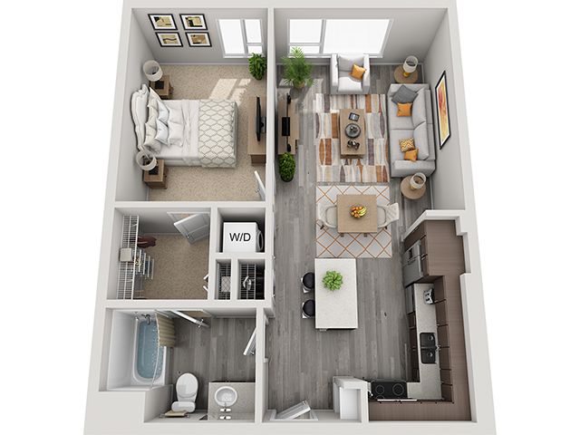 The A5 1 Bedroom 1 Bathroom floor plan at Baseline 158 offers one bedroom, one bathroom, and 712 square feet of room for residents in Beaverton, OR