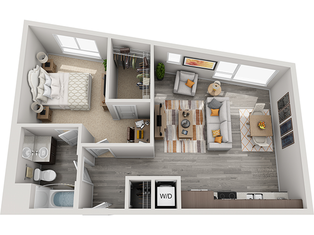 The A6 1 Bedroom 1 Bathroom floor plan at Baseline 158 offers one bedroom, one bathroom, and 748 square feet of room for residents in Beaverton, 97006