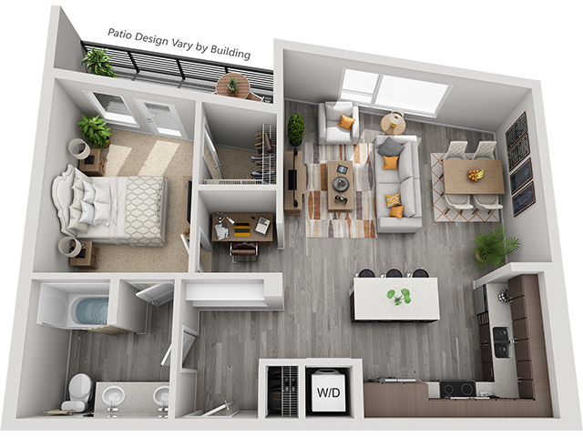 The A8 1 Bedroom 1 Bathroom floor plan at Baseline 158 offers one bedroom, one bathroom, and 803 square feet of room for residents in Beaverton, Oregon