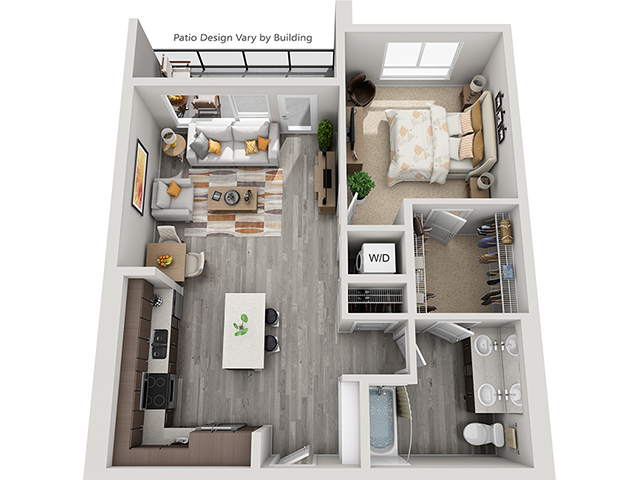 The A9 floor plan at Baseline 158 offers one bedroom, one bathroom, and 826 square feet of room for residents in Oregon, 97006