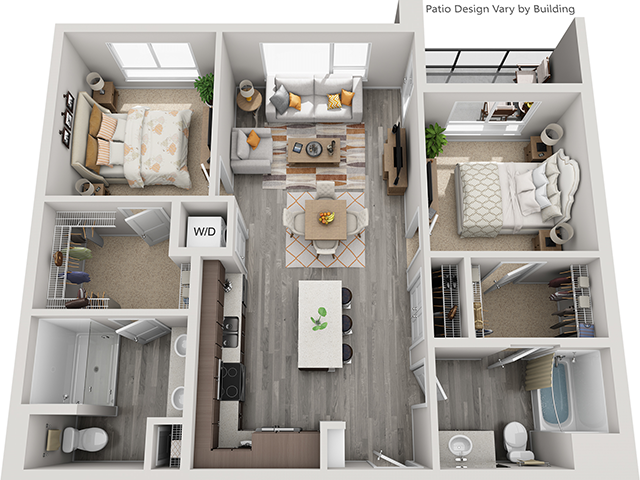 The B1 2 Bedroom 2 Bathroom floor plan at Baseline 158 offers two bedrooms, two bathrooms, and 1031 square feet of room for residents in Oregon. 97006