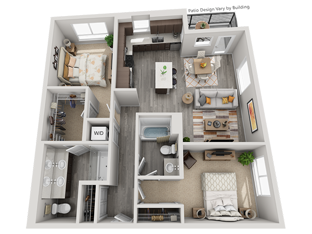 The B2 2 Bedroom 2 Bathroom floor plan at Baseline 158 offers two bedrooms, two bathroom, and 1101 square feet of room for residents in Oregon, 97006