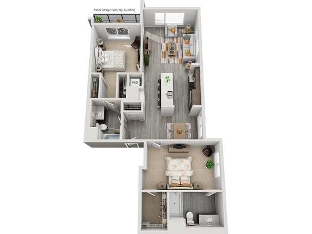 The B4 2 Bedroom 2 Bathroom floor plan at Baseline 158 offers two bedrooms, two bathroom, and 1247 square feet of room for residents in Oregon, 97006