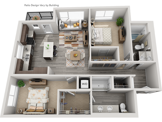 The B5 2 Bedroom 2 Bathroom floor plan at Baseline 158 offers two bedrooms, two bathroom, and 1146 square feet of room for residents in Beaverton, OR