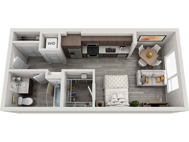 The S1 Studio floor plan at Baseline 158 offers 462 square feet of studio space for residents in Beaverton, OR