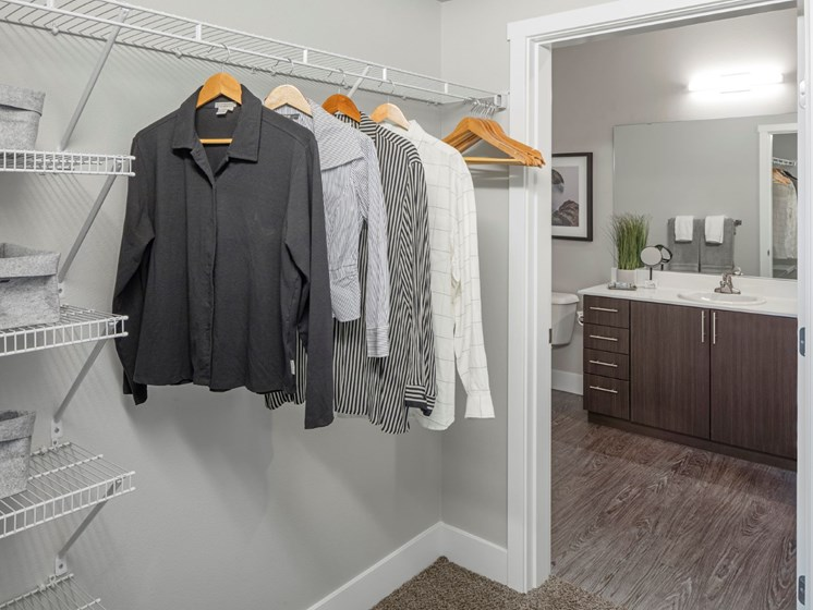 Walk-in closets at Basline 158 in Oregon, 97006