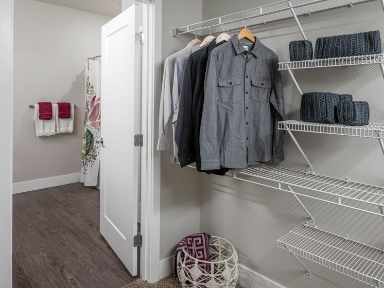 Huge walk-in closets have plenty of room for your entire wardrobe at Baseline 158 in Beaverton, Oregon