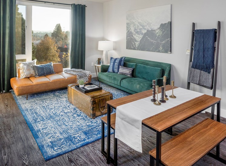 Large open concept living rooms with huge windows and views at Baseline 158 in Beaverton, OR