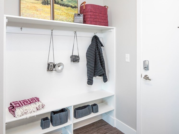 Mudroom with storage space for shoes and hanging jackets at Baseline 158 in Oregon