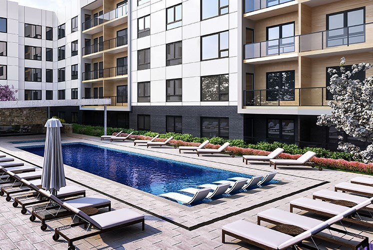Take a dip in the saltwater pool and relax on the baja deck in Beaverton, OR at Baseline 158 apartments