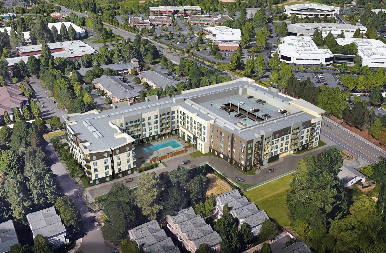 Aerial view of Baseline 158, pet friendly apartments in Beaverton, Oregon