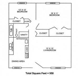 2 Bedrooms, 1 Bathroom - Small