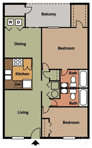 Two Bedroom Two Bathroom Apartment Home