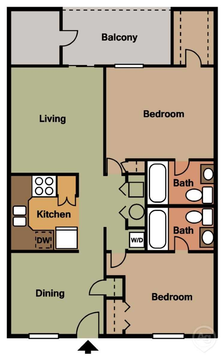 Two Bedroom Two Bathroom Roommate Style Apartment Home