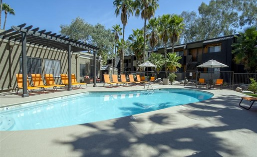 Glimmering and heated pool for year-round swimming in Tucson at Palm Canyon, Tucson, AZ 85741