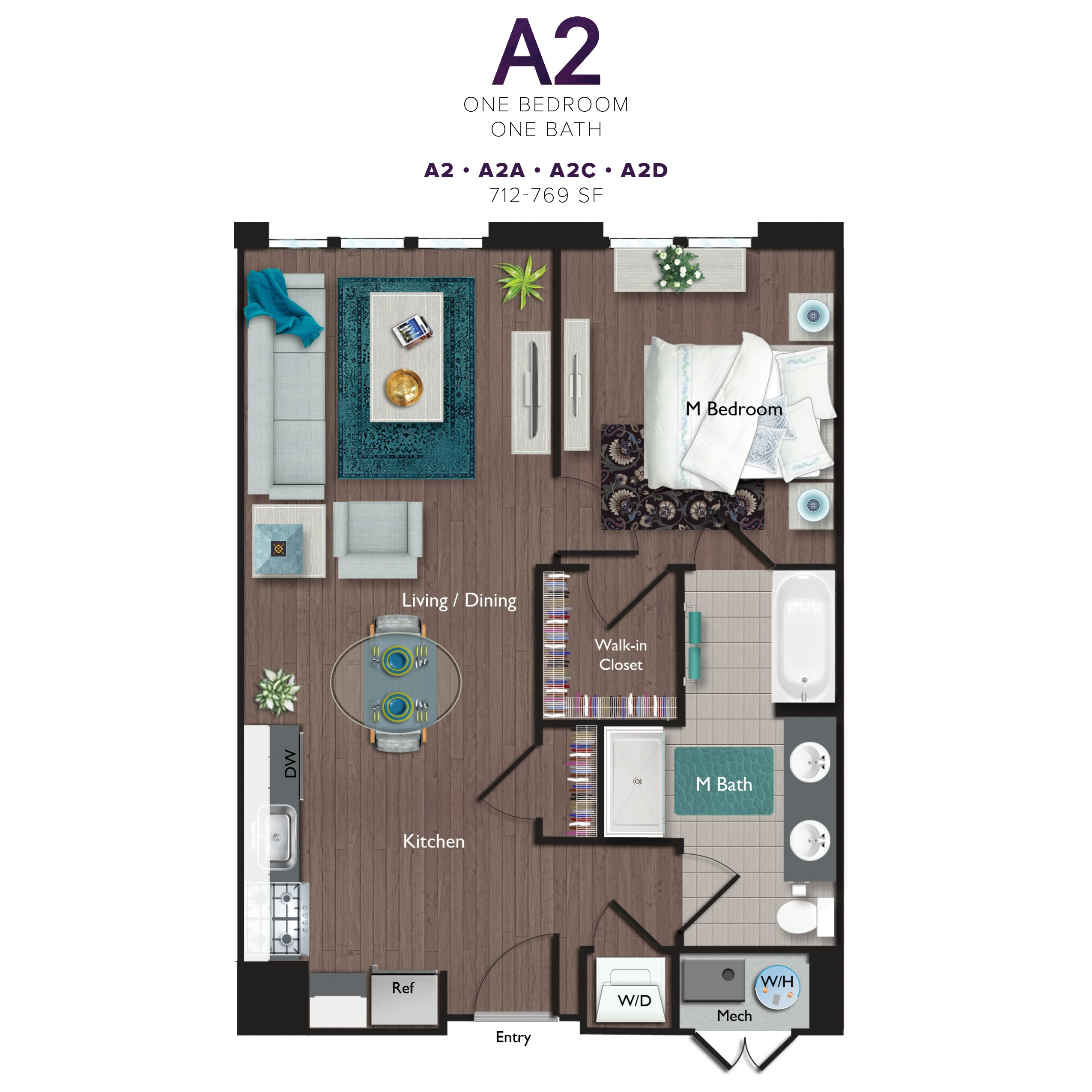 One Bedroom/One Bathroom (A02C) Floor Plan 7