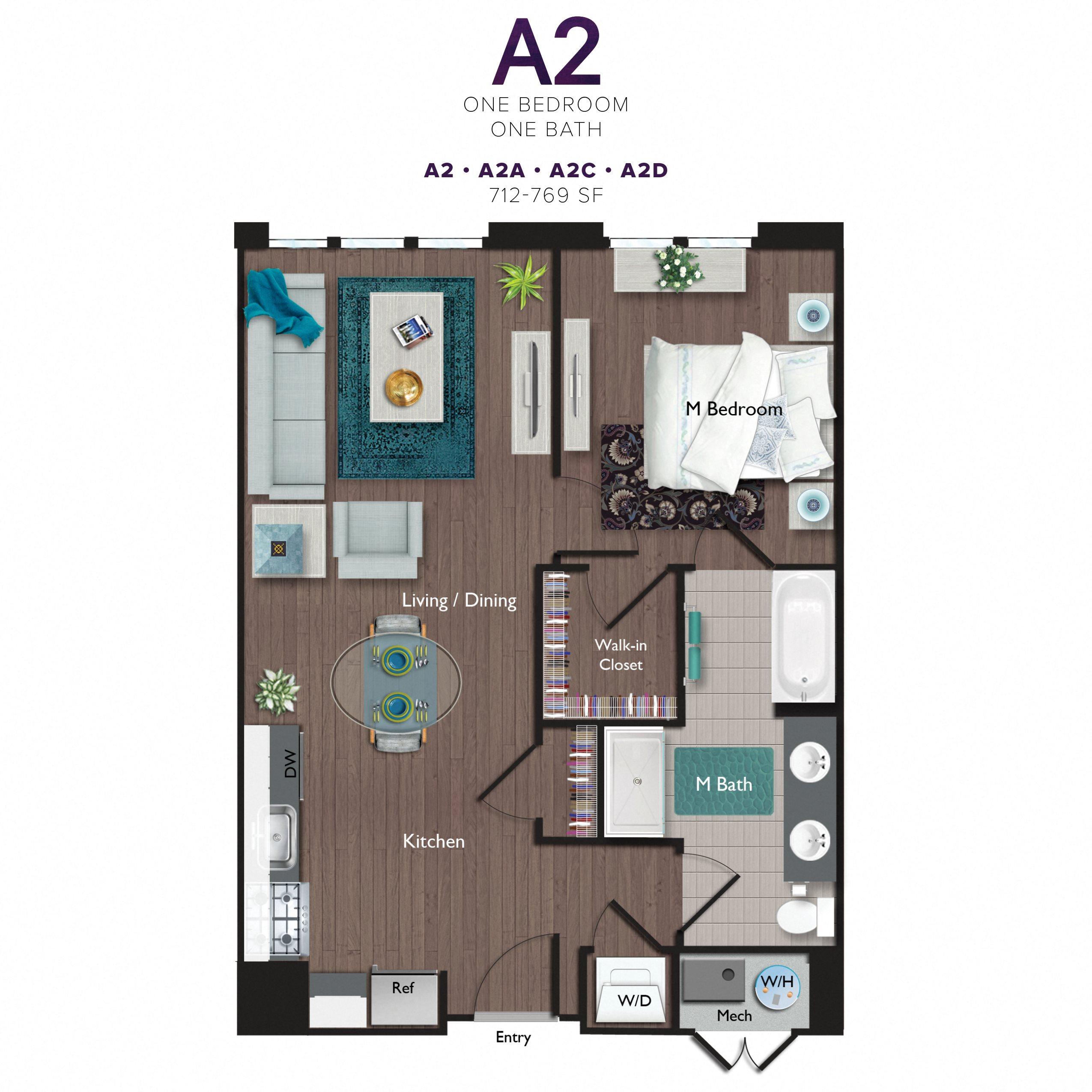 One Bedroom/One Bathroom (A02C) Floor Plan 9