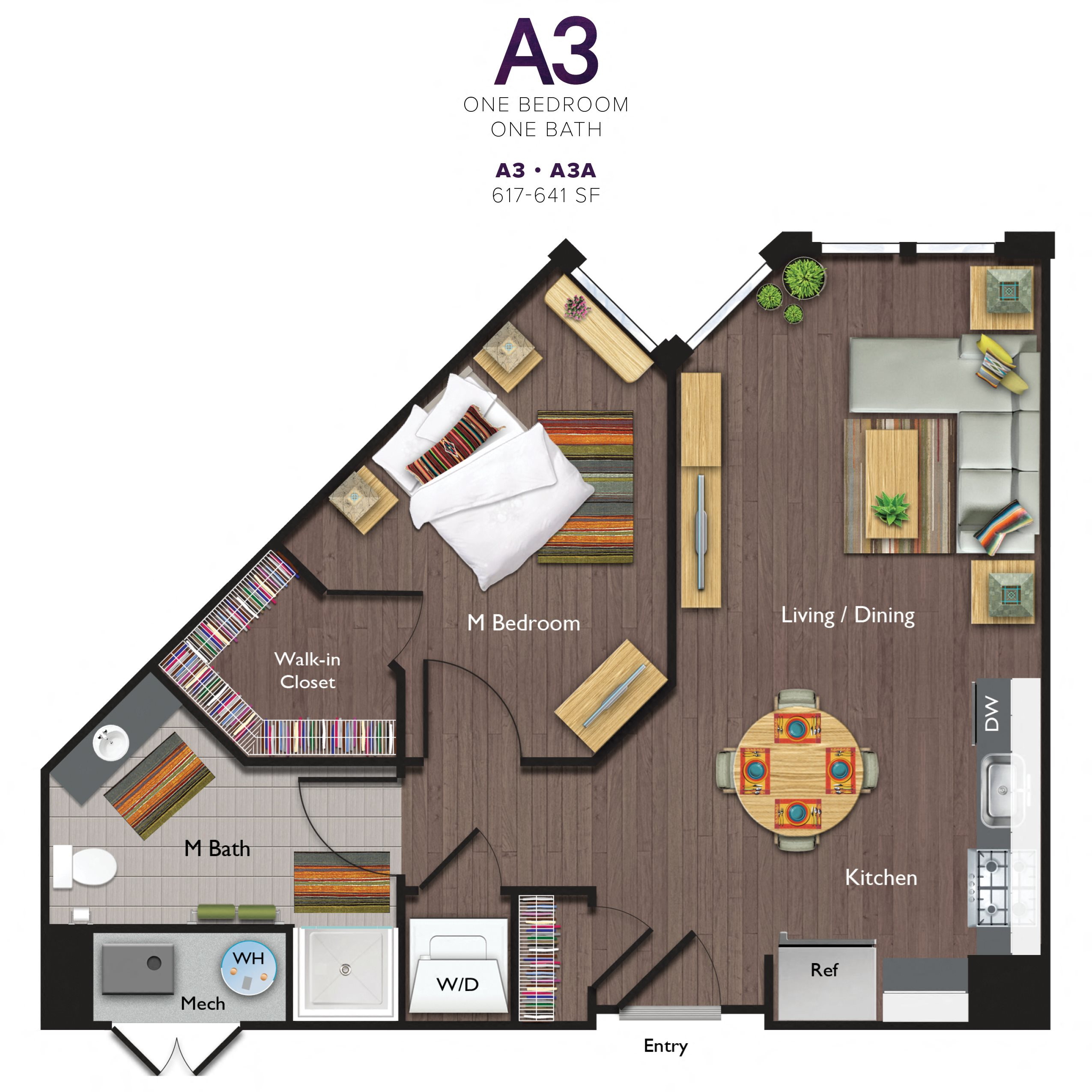One Bedroom/One Bathroom (A03A) Floor Plan 10