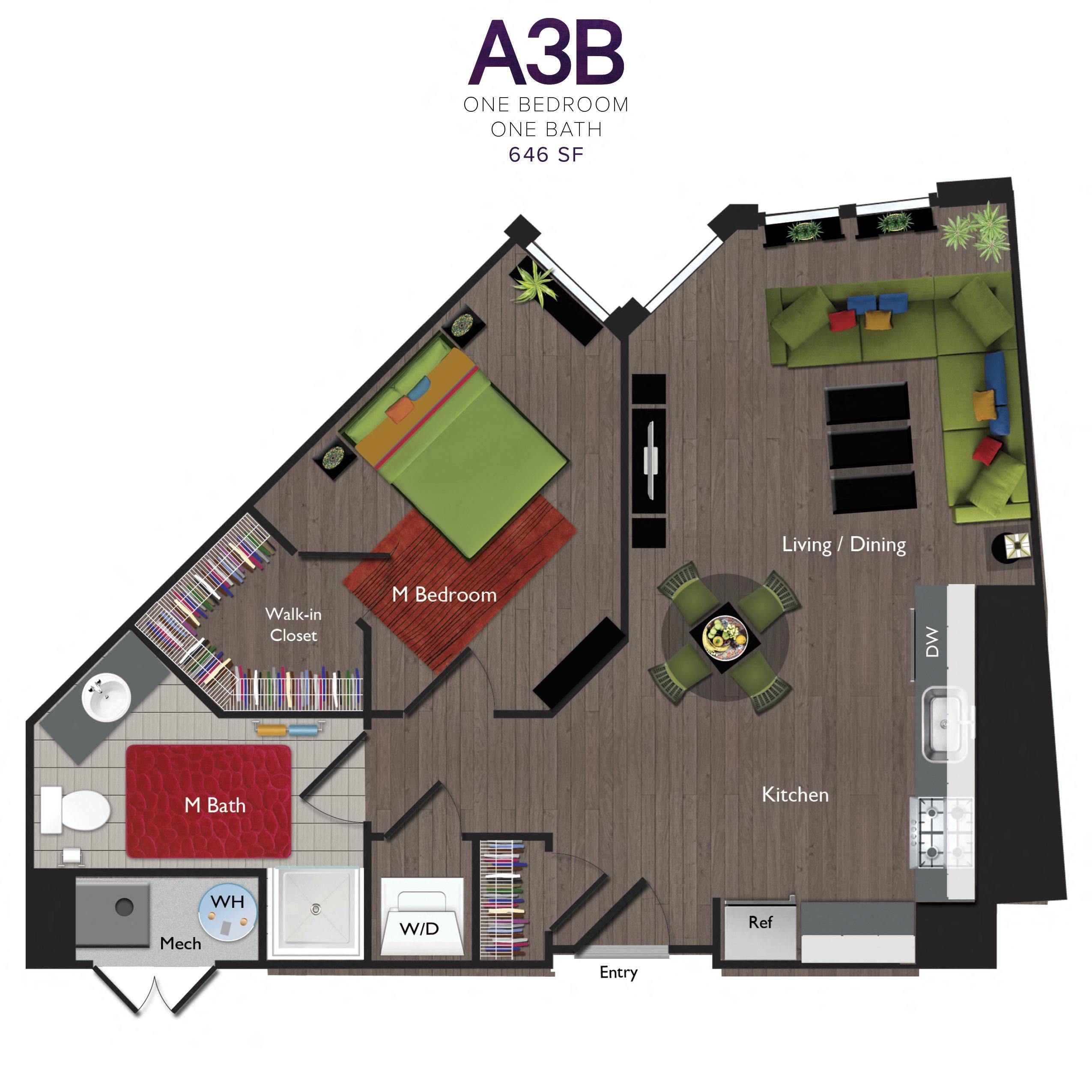 One Bedroom/One Bathroom (A03B) Floor Plan 19