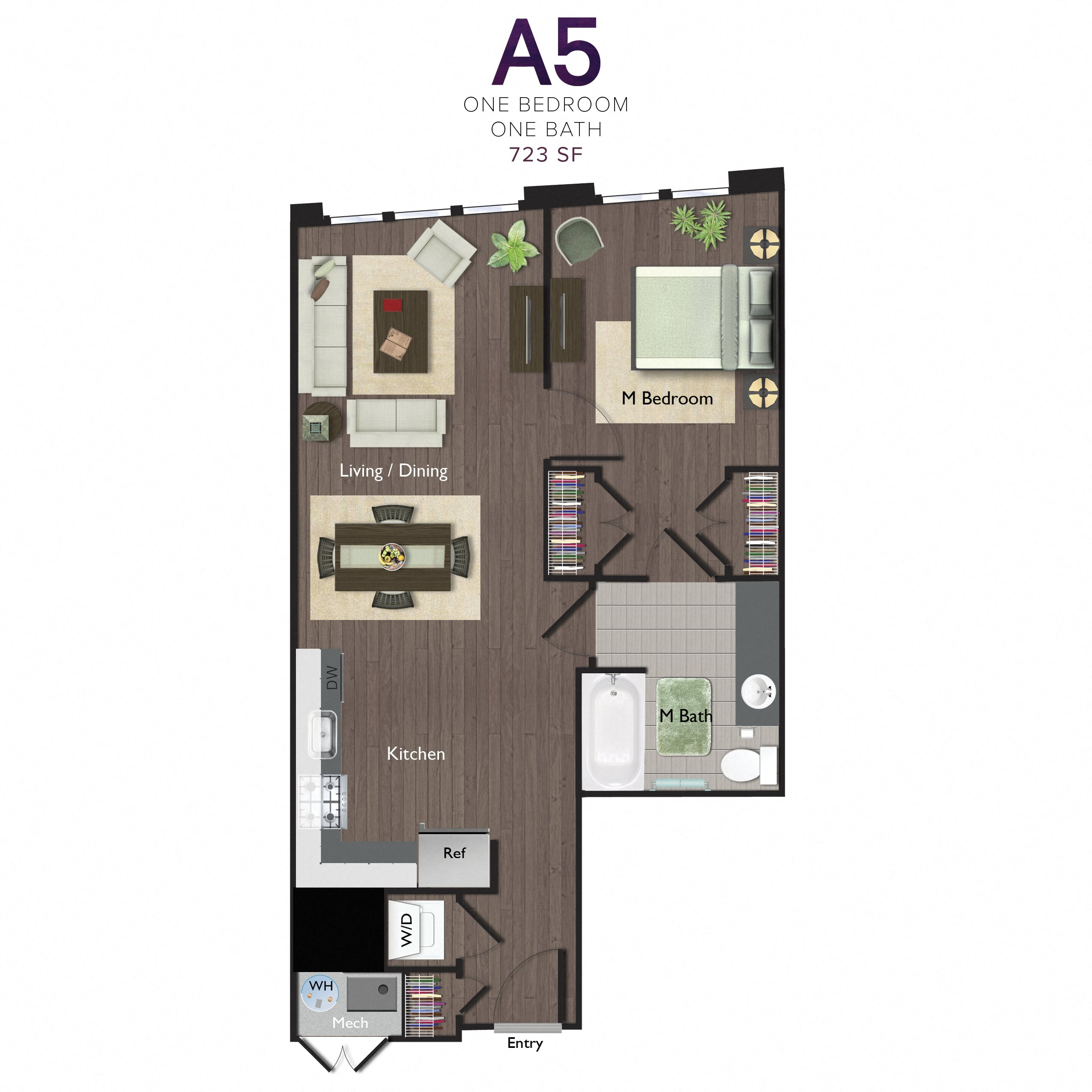 One Bedroom/One Bathroom (A05) Floor Plan 8