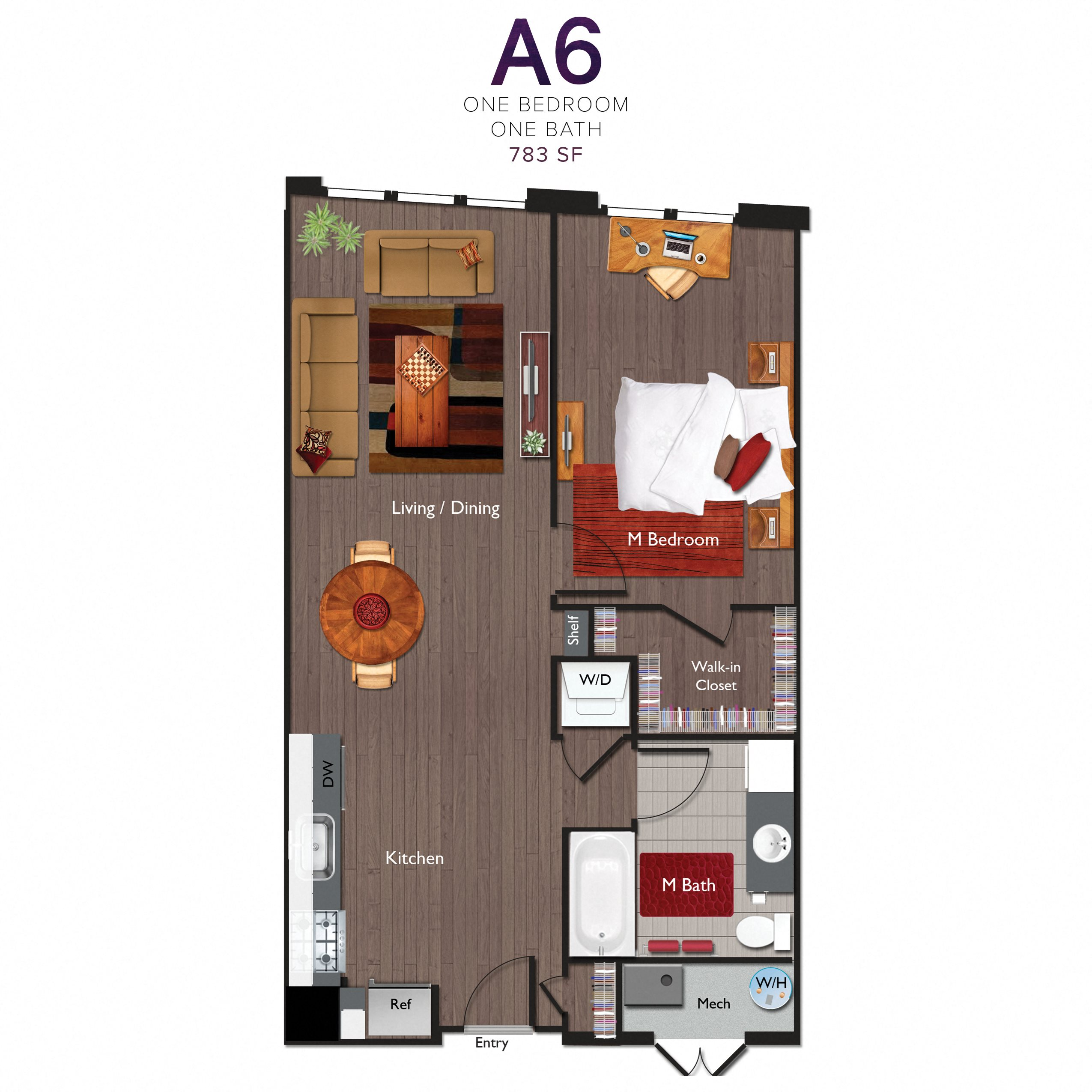 One Bedroom/One Bathroom (A06) Floor Plan 10