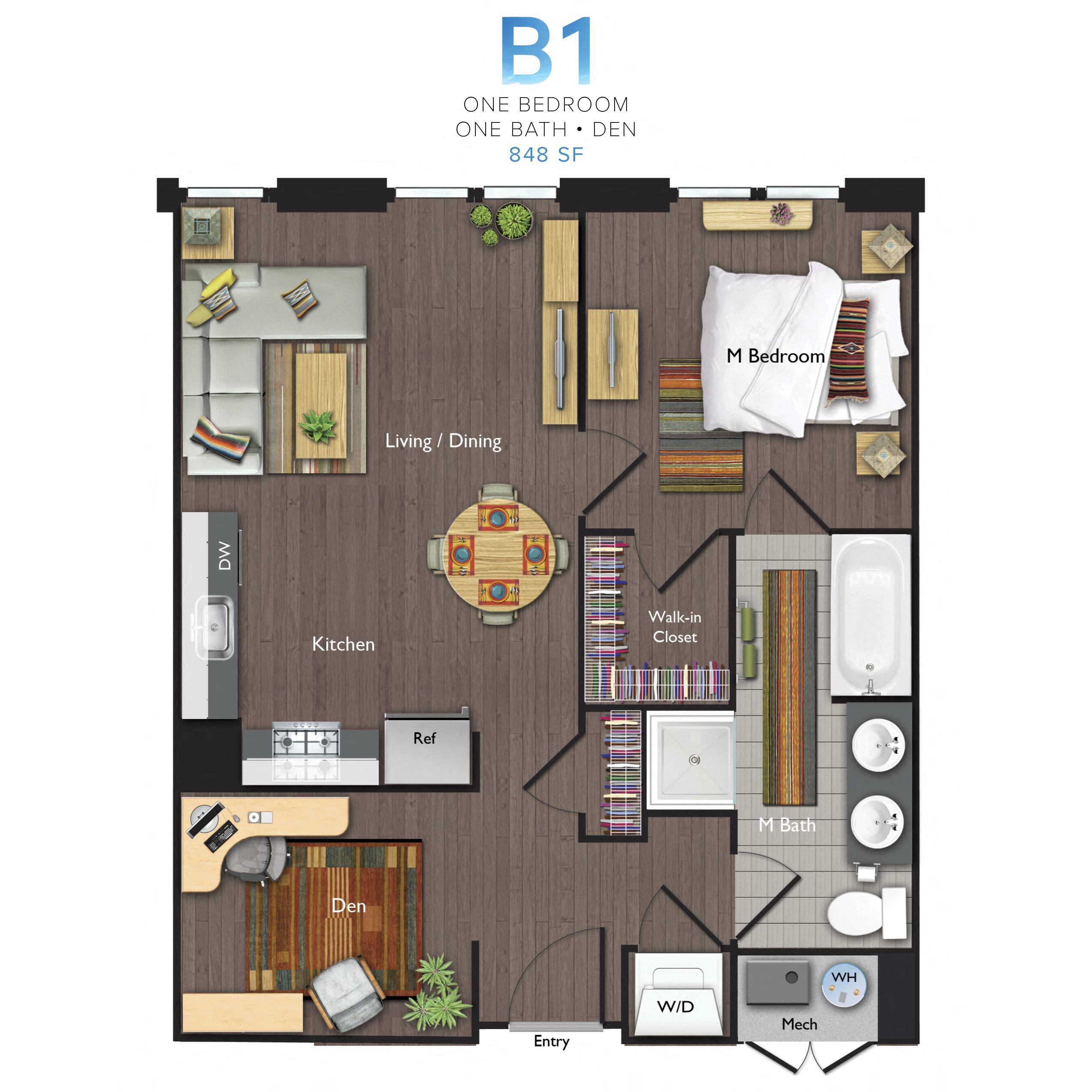 One Bedroom/One Bathroom with Den (B01) Floor Plan 14