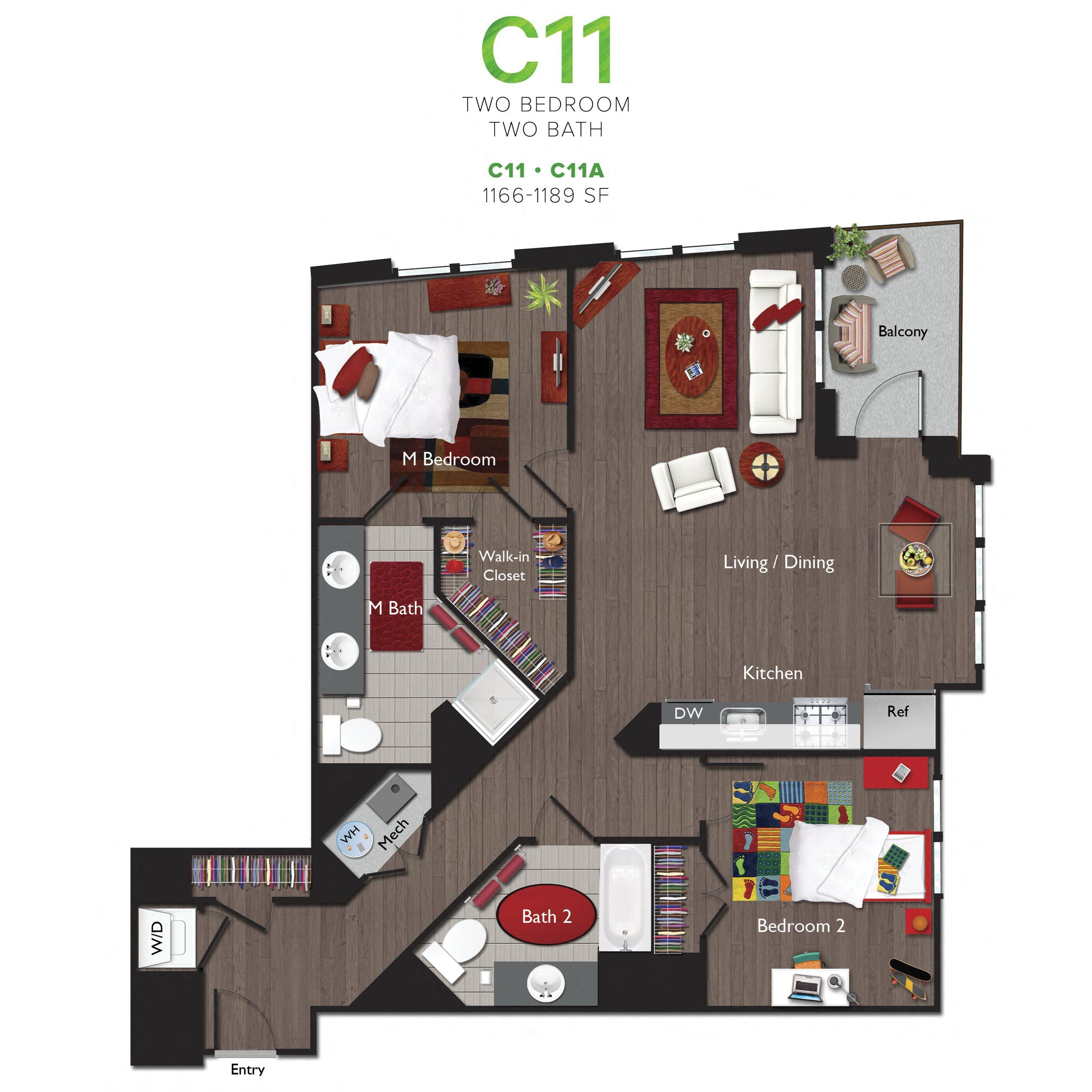 Two Bedrooms/Two Bathrooms (C11) Floor Plan 15