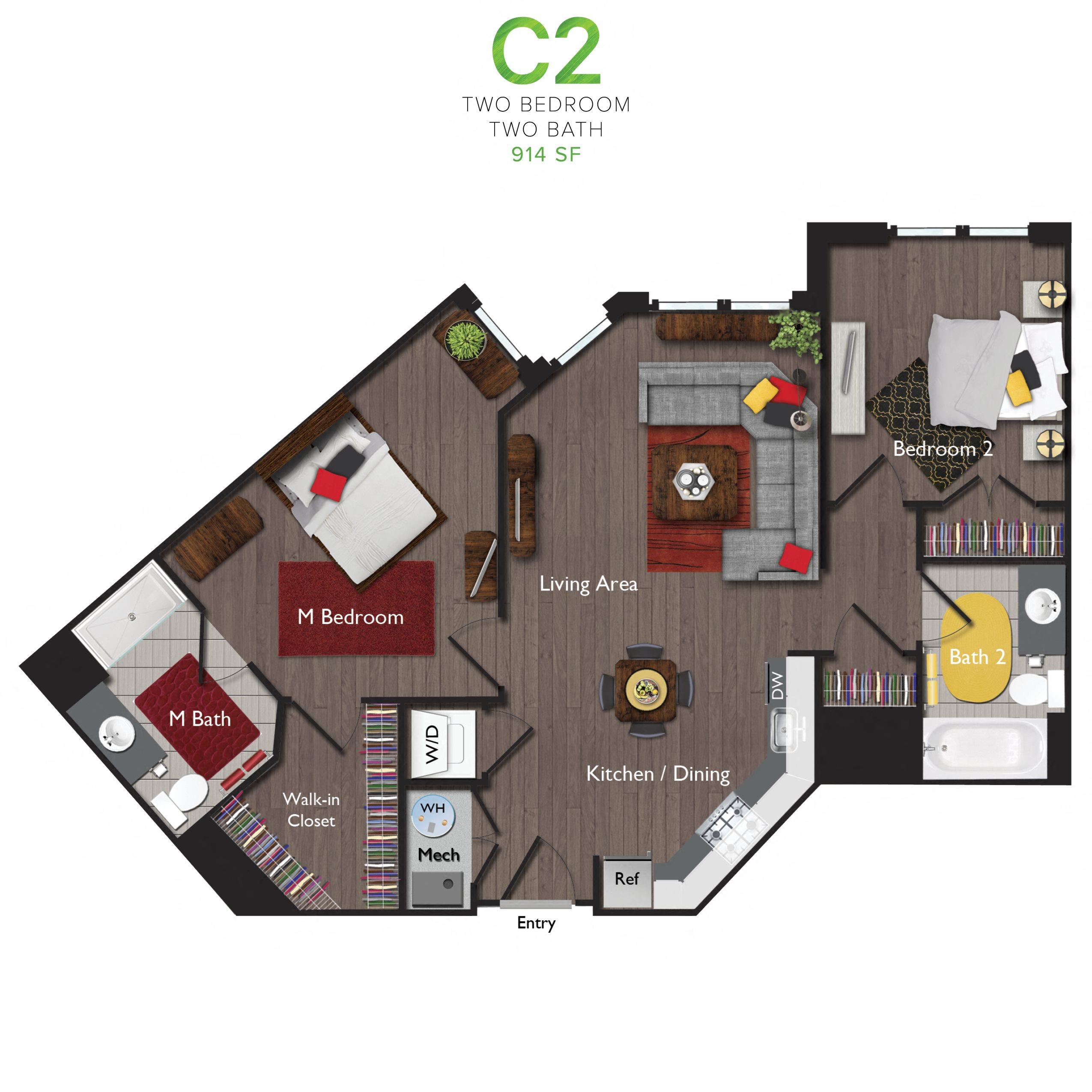 Two Bedrooms/Two Bathrooms (C02) Floor Plan 11