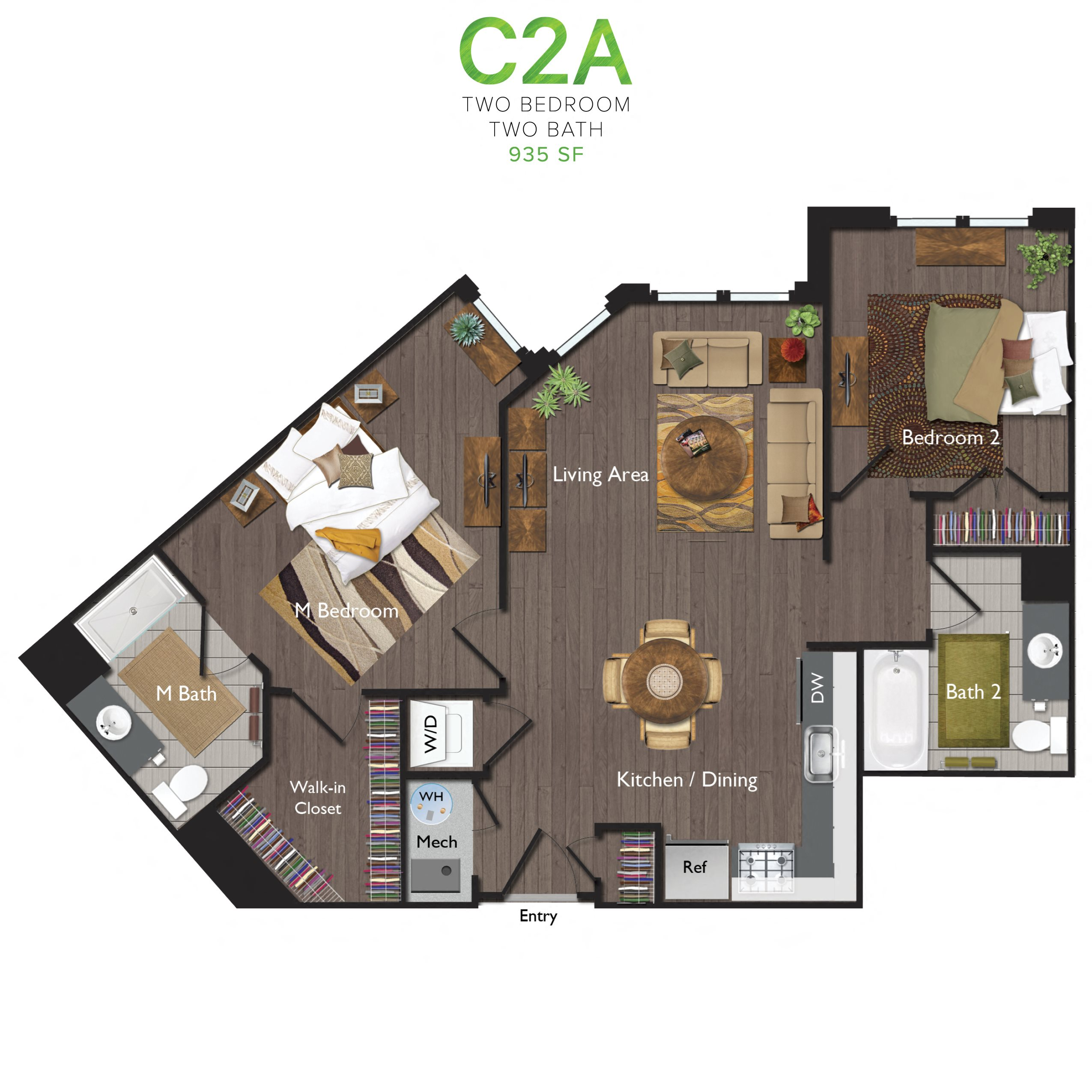 Two Bedrooms/Two Bathrooms (C02A) Floor Plan 4