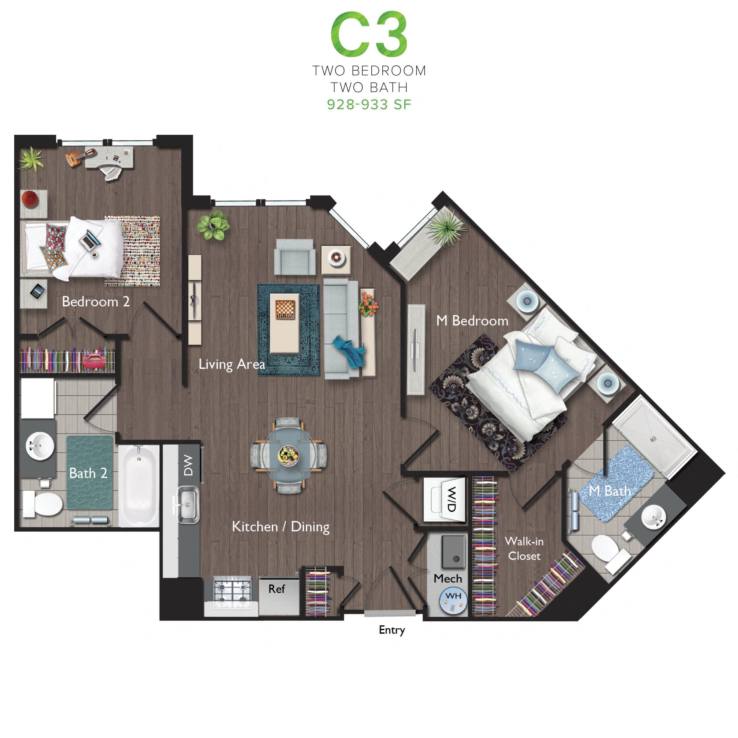 Two Bedrooms/Two Bathrooms (C03) Floor Plan 9