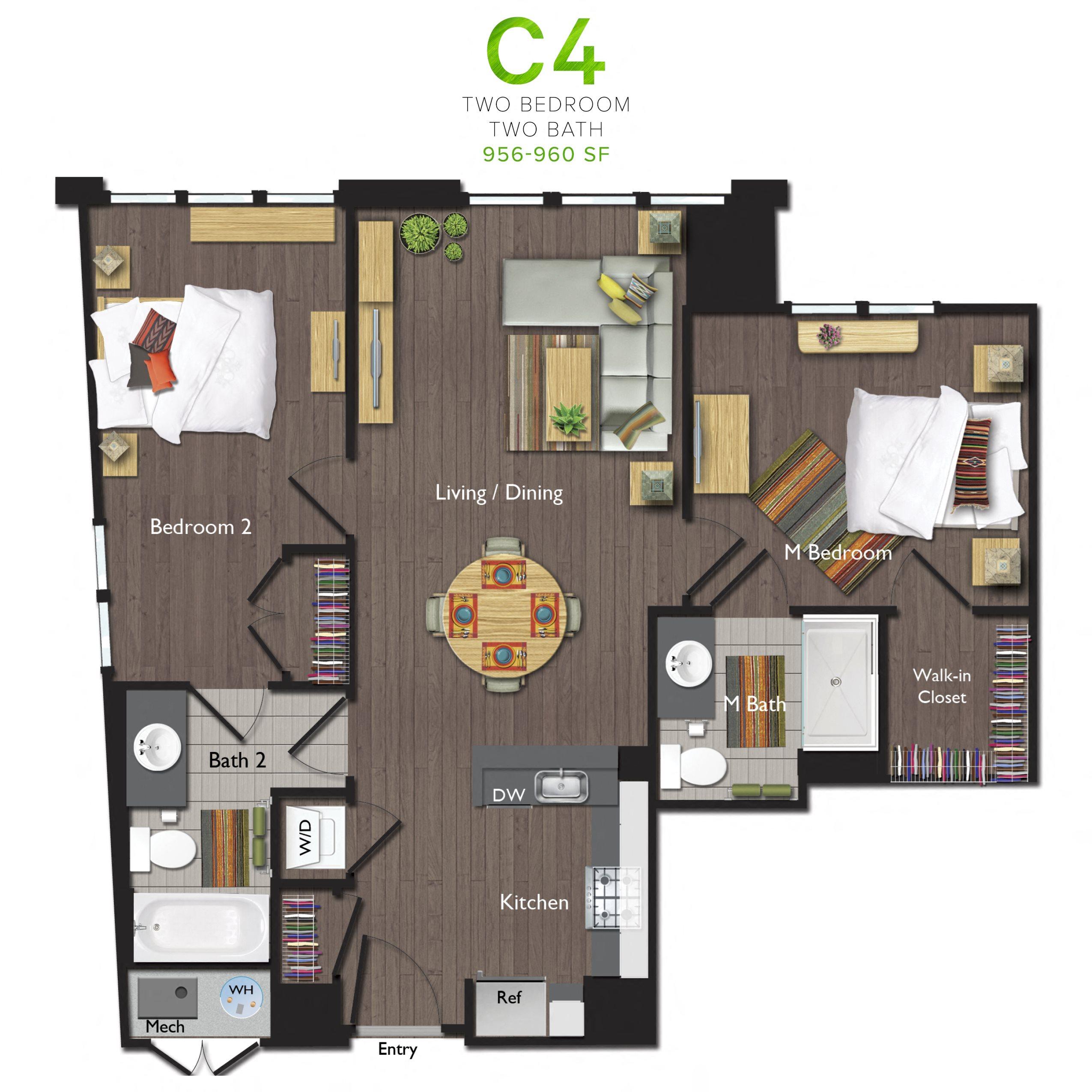 Two Bedrooms/Two Bathrooms (C04) Floor Plan 8