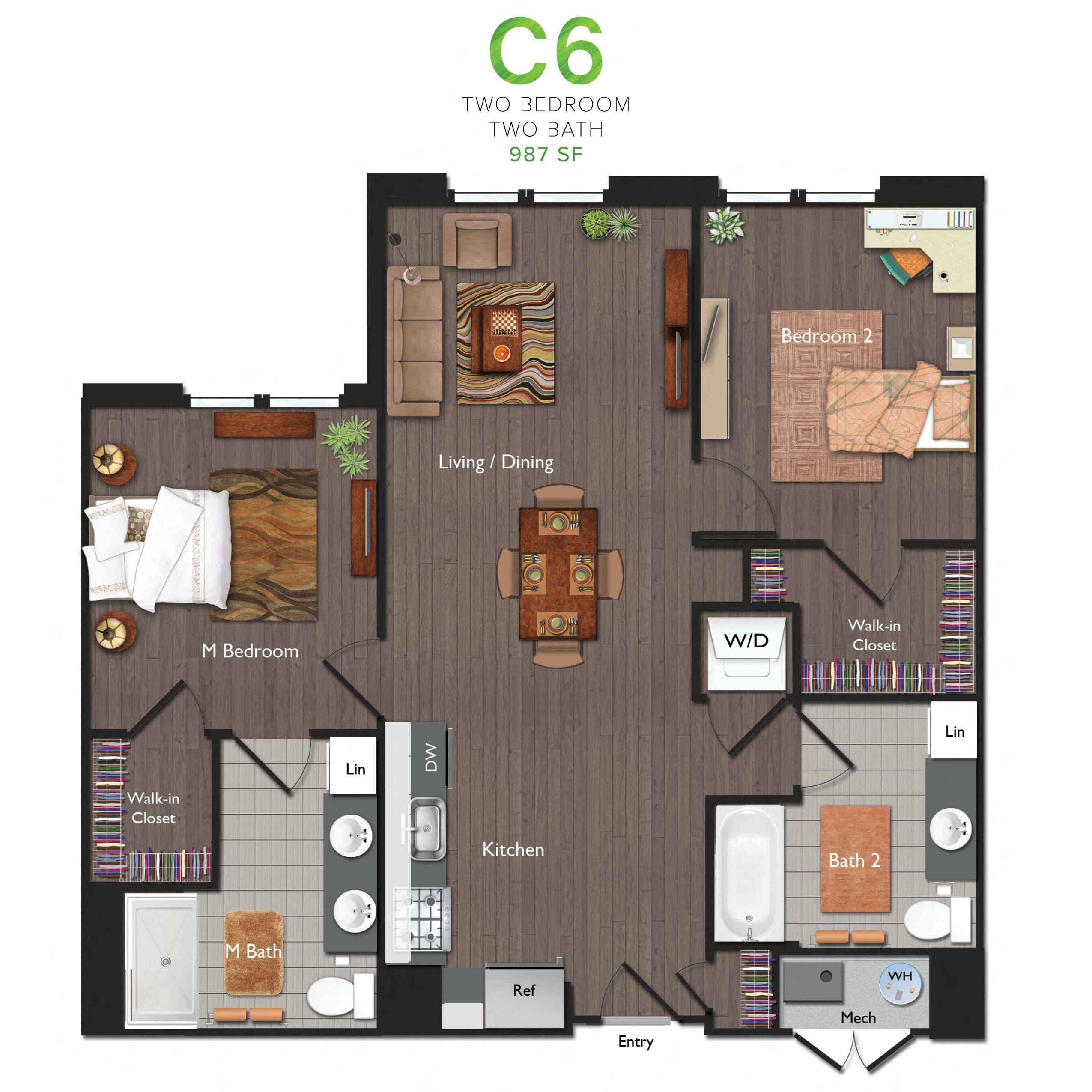 Two Bedrooms/Two Bathrooms (C06) Floor Plan 5