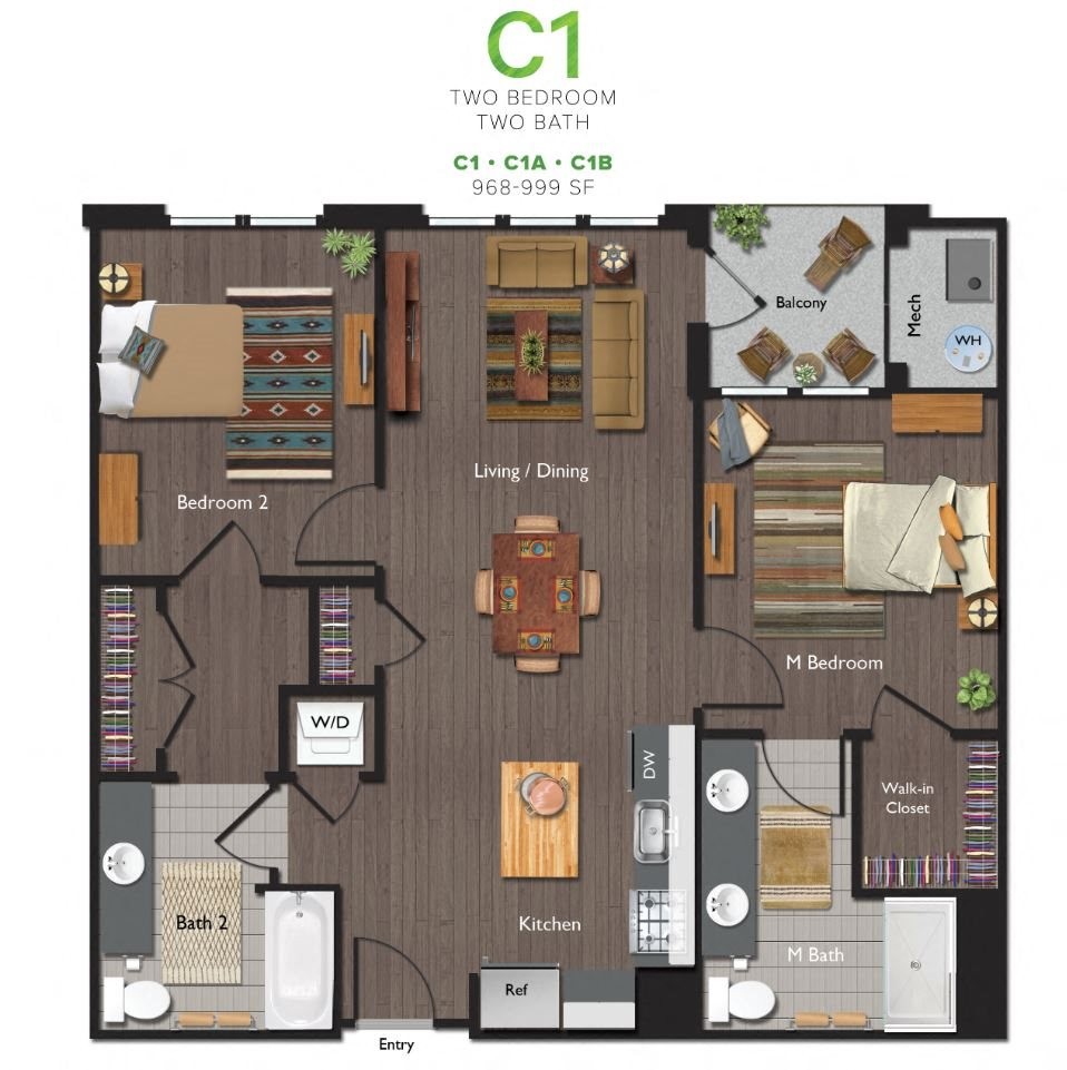 Two Bedrooms/Two Bathrooms (C01B) Floor Plan 6