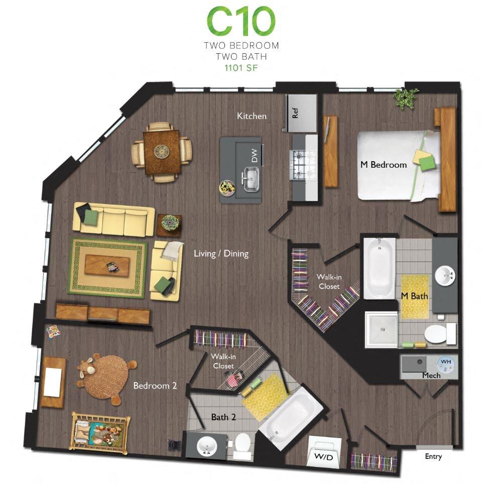 Two Bedrooms/Two Bathrooms (C10) Floor Plan 12