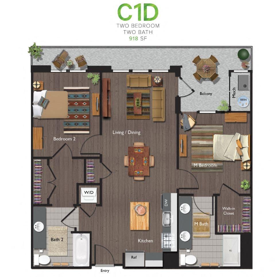 Two Bedrooms/Two Bathrooms (C01D) Floor Plan 12