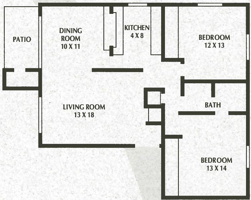 SS - 2 Bed, 1 Bath - 972sqft